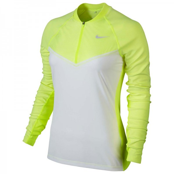 Nike Damen Engineered 1/2 Zip Golf Top Weiss/Volt