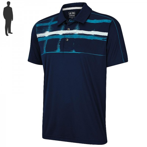 Adidas Herren Climacool Printed Block Golfpolo Navy